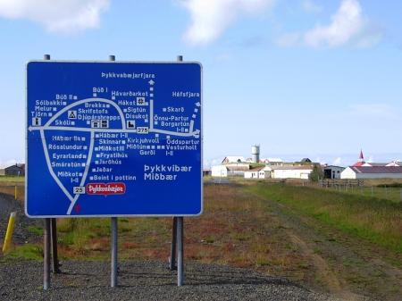 Þykkvybær - wo jede Familie am Ortsschild ihren Platz hat ...