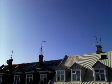 Ausblick vom Gistihusi Butterfly auf die Dächer Reykjaviks